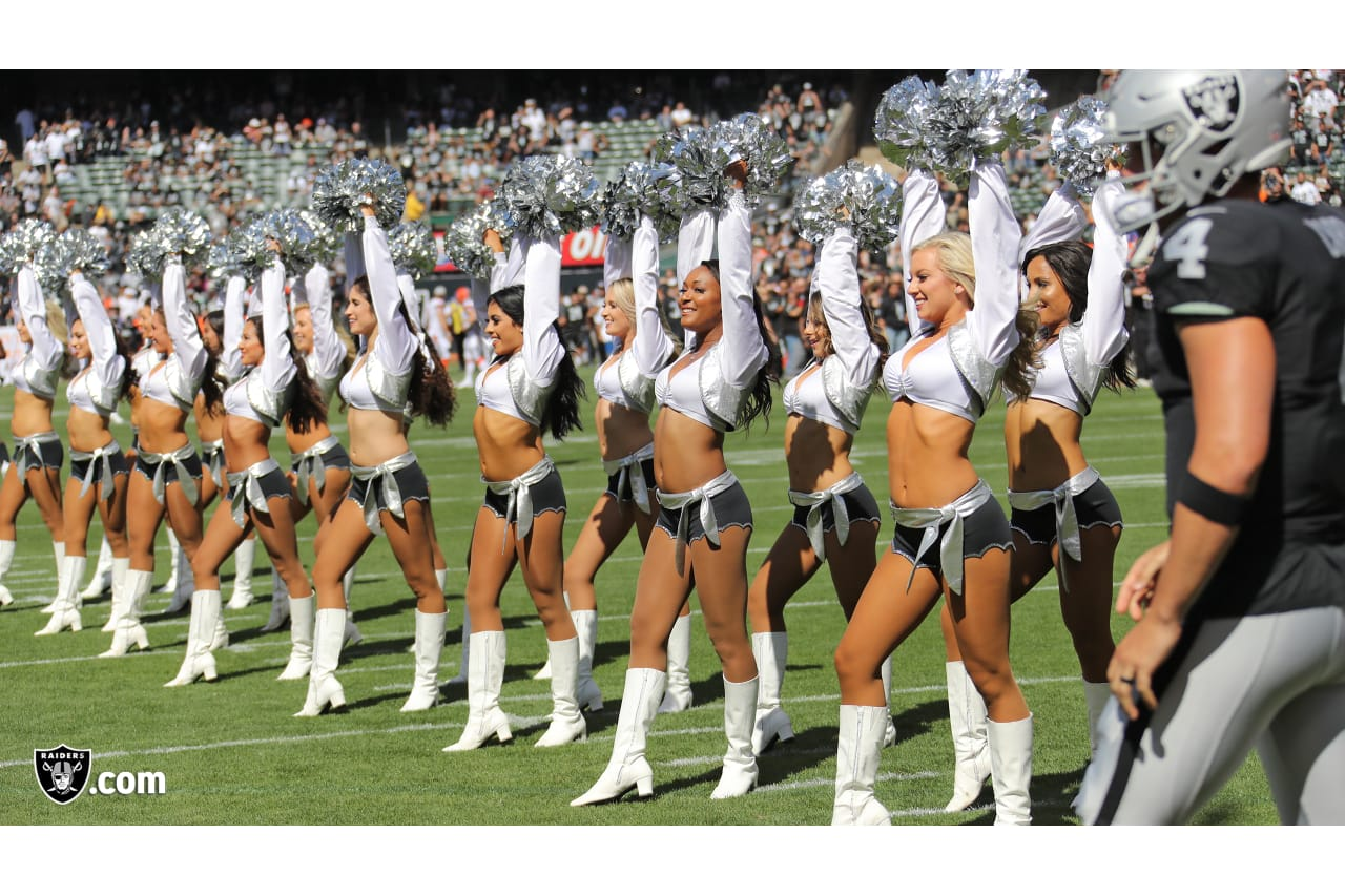 The Raiderettes during player intros before the Oakland Raiders game against the Cleveland Browns at Oakland-Alameda County Coliseum, Sunday, September 30, 2018, in Oakland, California. The Oakland Raiders won 45-42.