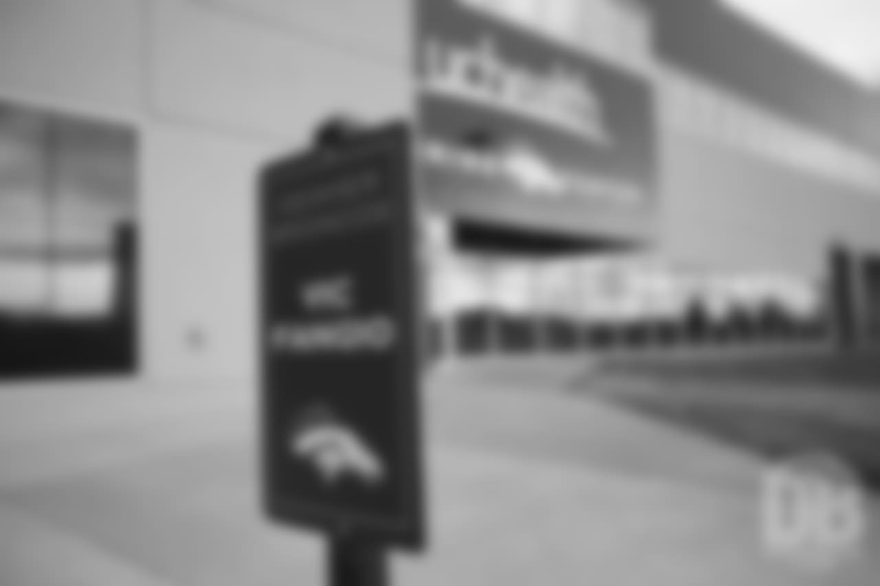 The sign for new Broncos Head Coach Vic Fangio's parking spot.Photo by Gabriel Christus