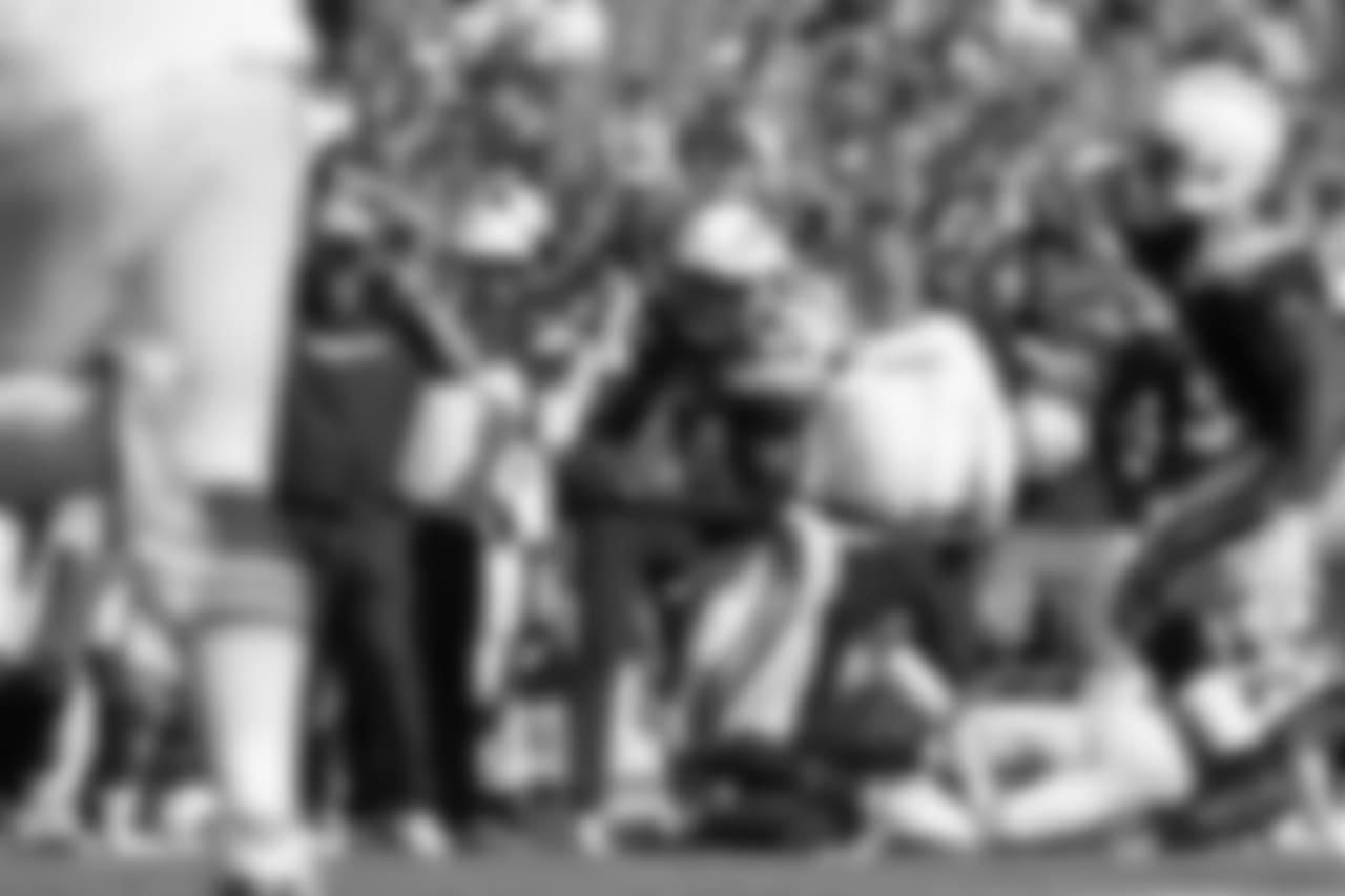 Kyzir White intercepts the ball against the Buffalo Bills at New Era Field on Sun. Sept. 16, 2018.