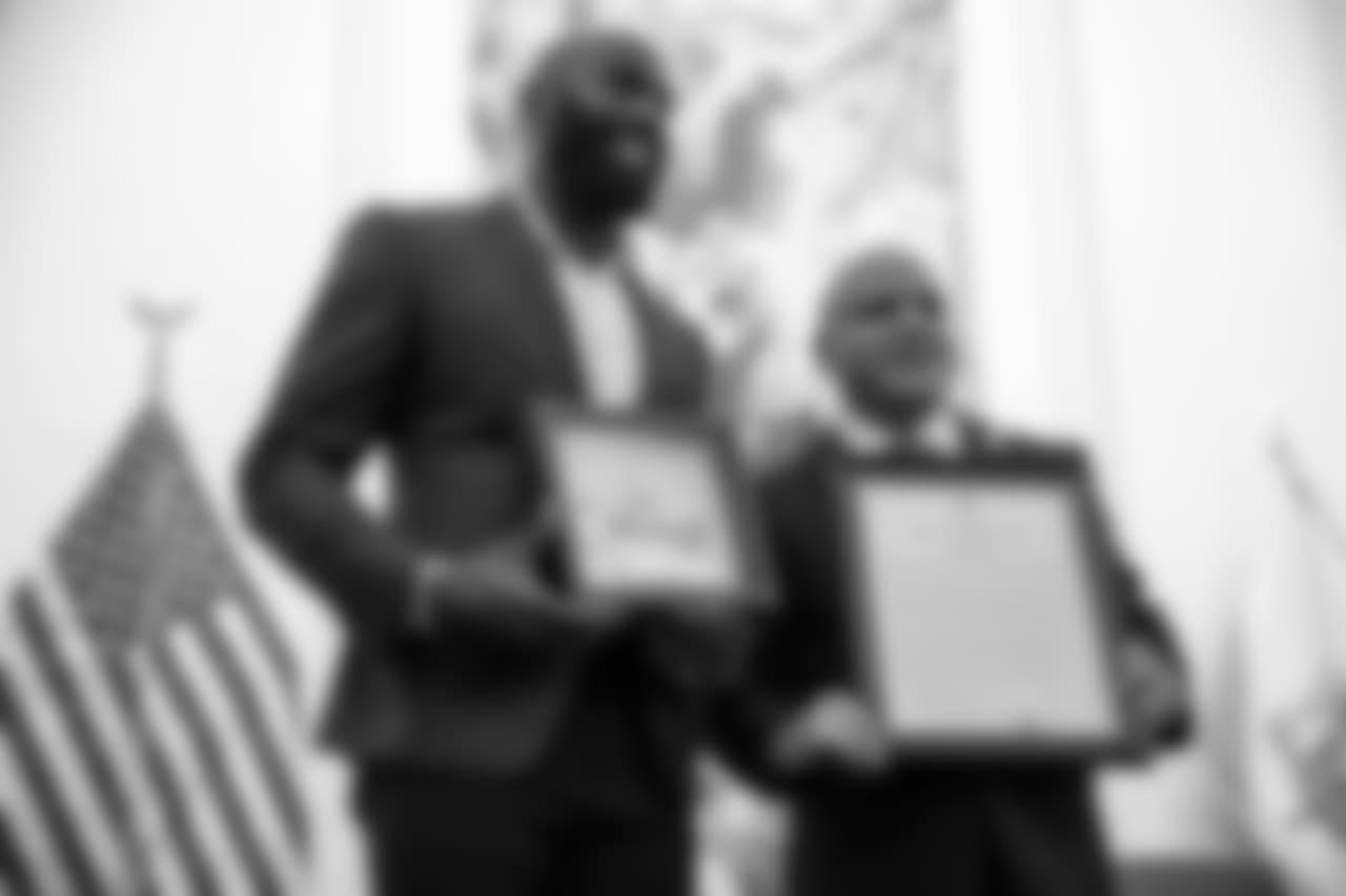 Malcolm Jenkins and Camden Mayor Frank Moran