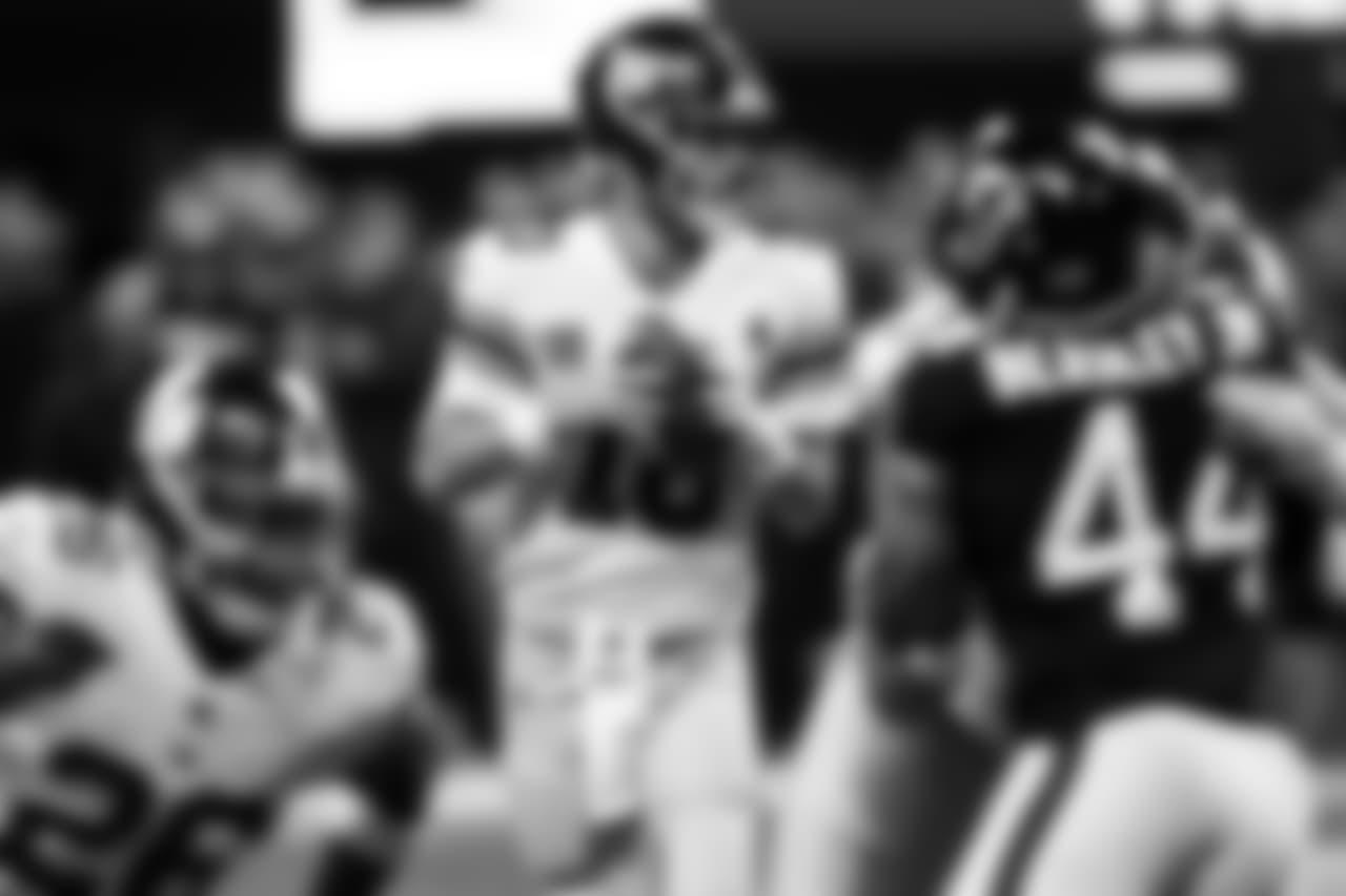 DT Grady Jarrett sacks New York Giants quarterback Eli Manning