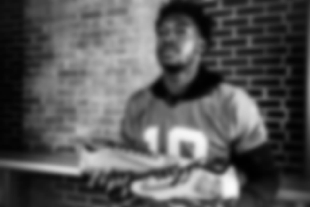 "WR Calvin Ridley | ""After I got drafted, I drove down just to see the village again. I went down there and just sat and thought if I never went to foster care, I don't know where I would have been. For My Cause, My Cleats I chose SOS Children's Village. SOS changed my life and helped me get here."""