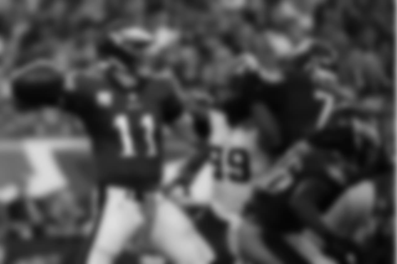 Philadelphia Eagles' Carson Wentz prepares to pass during the second half of an NFL football game against the Minnesota Vikings, Sunday, Oct. 7, 2018, in Philadelphia. (AP Photo/Matt Rourke)