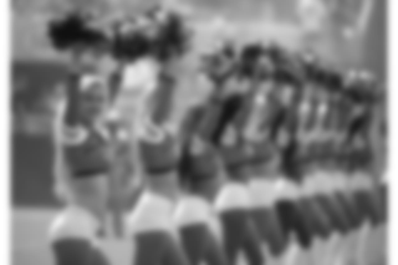 The Jacksonville Jaguars cheerleaders perform before an NFL football game against the New York Jets Sunday, Sept. 30, 2018, in Jacksonville, Fla. (AP Photo/Phelan M. Ebenhack)