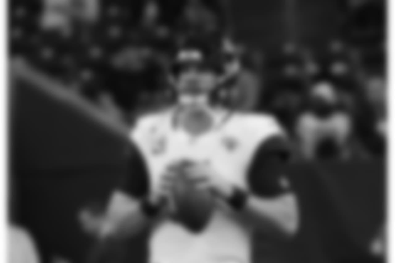 Jacksonville Jaguars quarterback Blake Bortles (5) before an NFL football game against the Houston Texans, Sunday, Dec. 30, 2018, in Houston. (AP Photo/David J. Phillip)