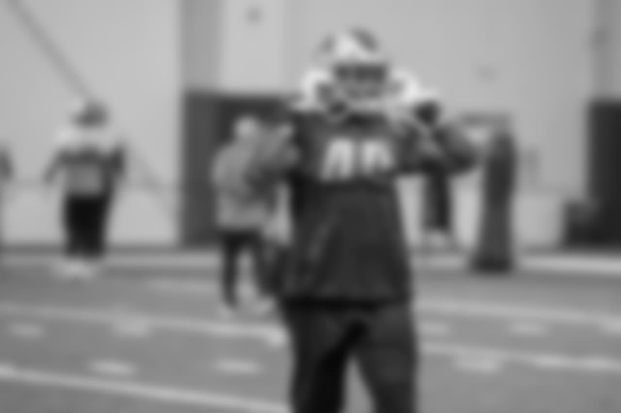 Detroit Lions linebacker Jarrad Davis (40) during practice at the Detroit Lions training facility on Thursday, Dec. 20, 2018 in Allen Park, Mich. (Detroit Lions via AP)