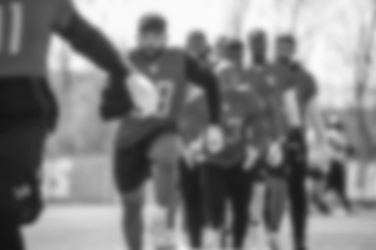 Detroit Lions defensive end Alex Barrett (58) during voluntary minicamp practice at the Detroit Lions training facility on Thursday, April 26, 2018 in Allen Park, Mich. (Detroit Lions via AP)