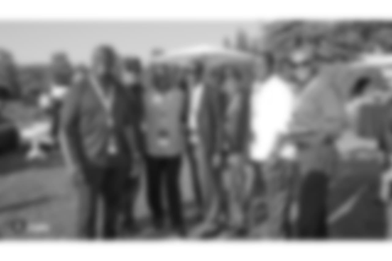 Oakland Raiders alumni Willie Jones, George Atkinson, Rufus Bess, Kerry Parker, Ira Matthews, Lester Hayes, and Mike Davis at an Alumni Dinner during 2018 Training Camp at Kelham Vineyards, Saturday, July 28, 2018, in Saint Helena, California.