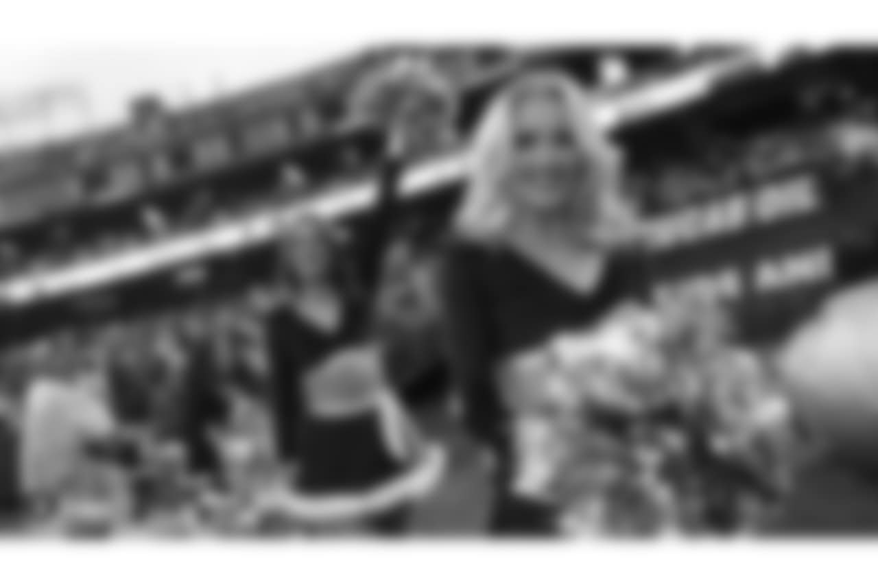 The Raiderettes on the sidelines at the Oakland Raiders game against the Denver Broncos at Oakland-Alameda County Coliseum, Monday, December 24, 2018, in Oakland, California. The Oakland Raiders won 24-17.