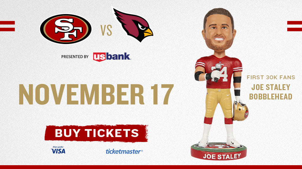 Don't Miss Your Chance to Get the Joe Staley Bobblehead 11/17. Only first 30K Fans 🙌