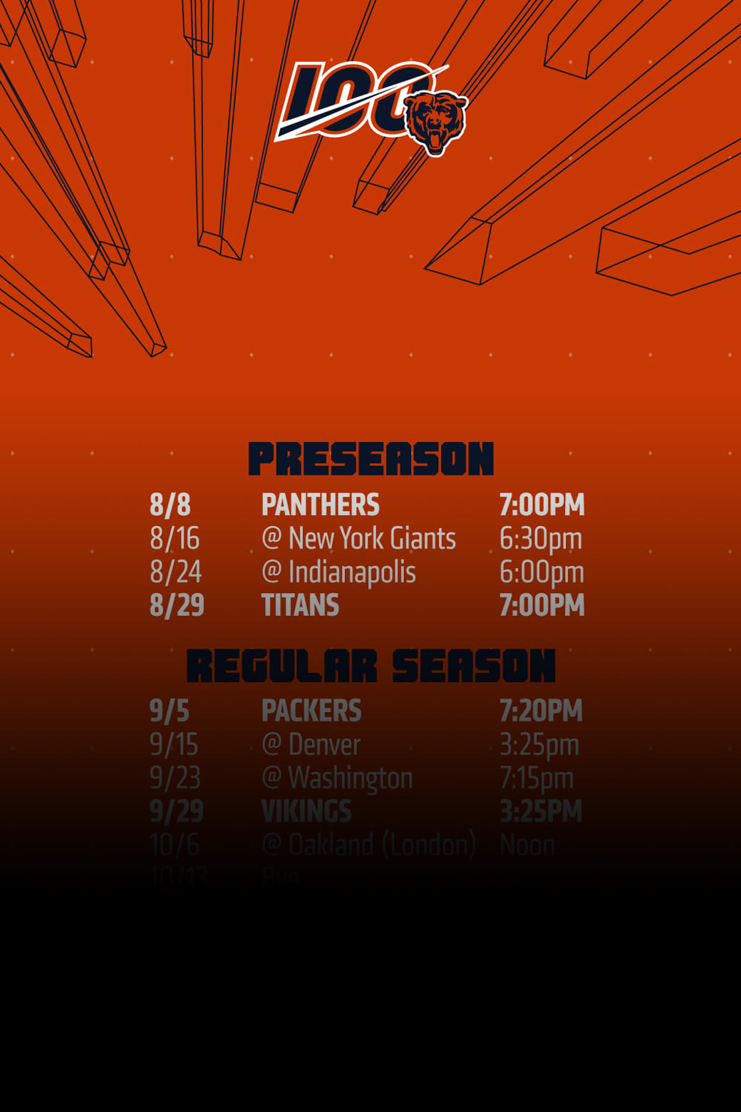 graphic regarding Chicago Bears Schedule Printable identified as Wallpapers Chicago Bears Formal Internet