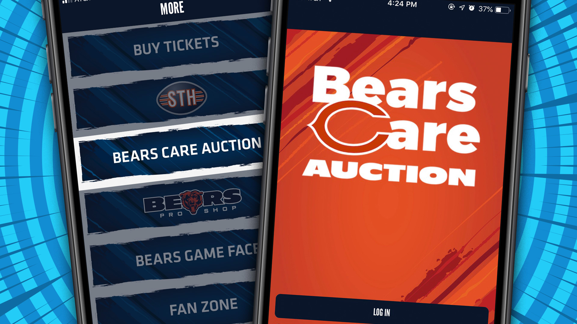 Auction Feature on the Chicago Bears Official App