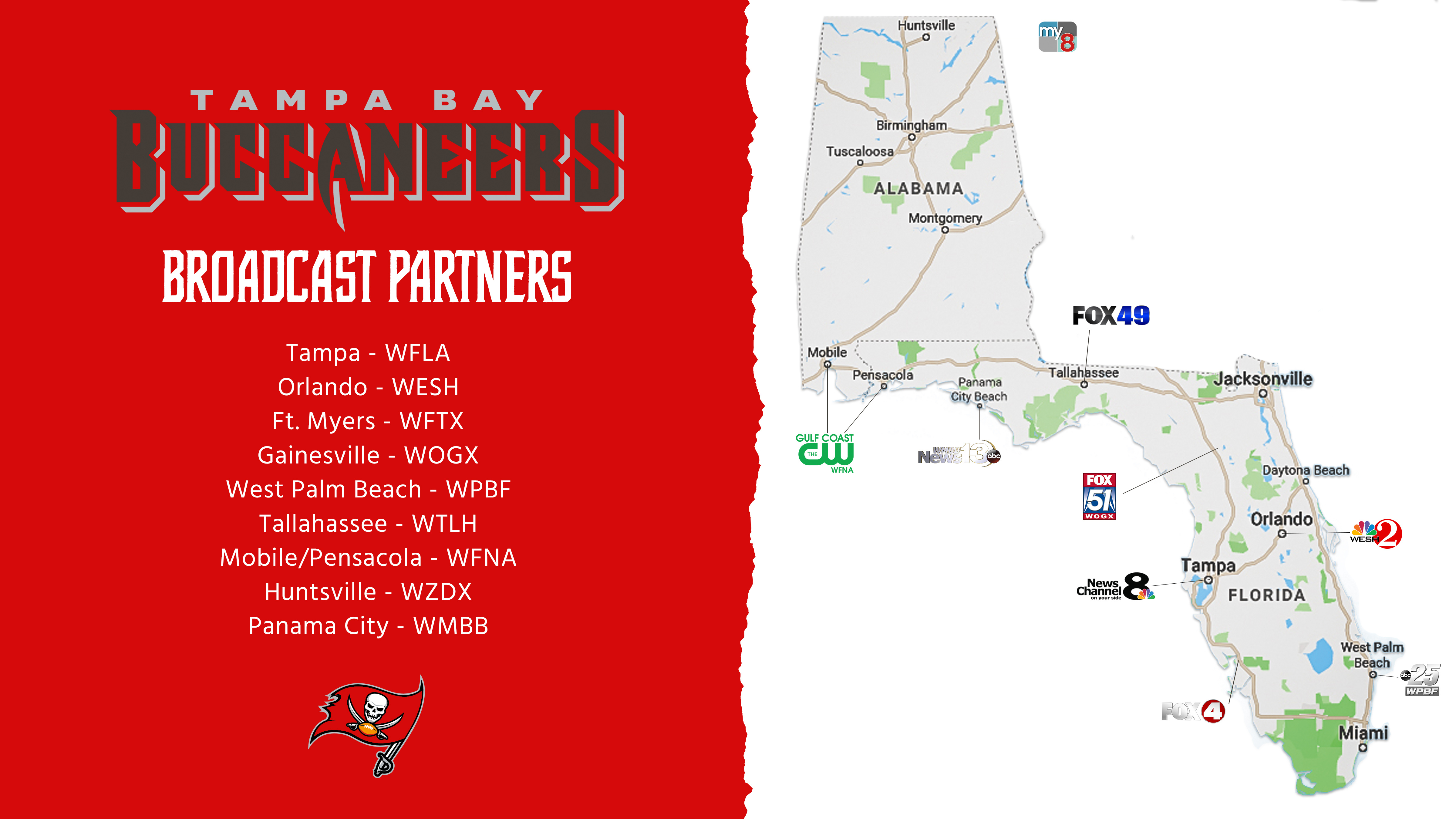 Bucs fans can watch preseason games and more from official broadcast partner WFLA and other local affiliates (WESH, WFTX, WOGX, WPBF, WTLH, WFNA, WZDX, WMBB).