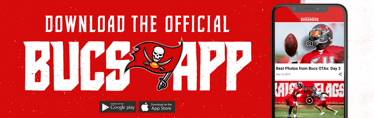 1560e0be45db5 Download the Official Bucs App and have the Bucs experience right at your  fingertips – 24/7. Want to catch breaking news? See real-time statistics  for every ...