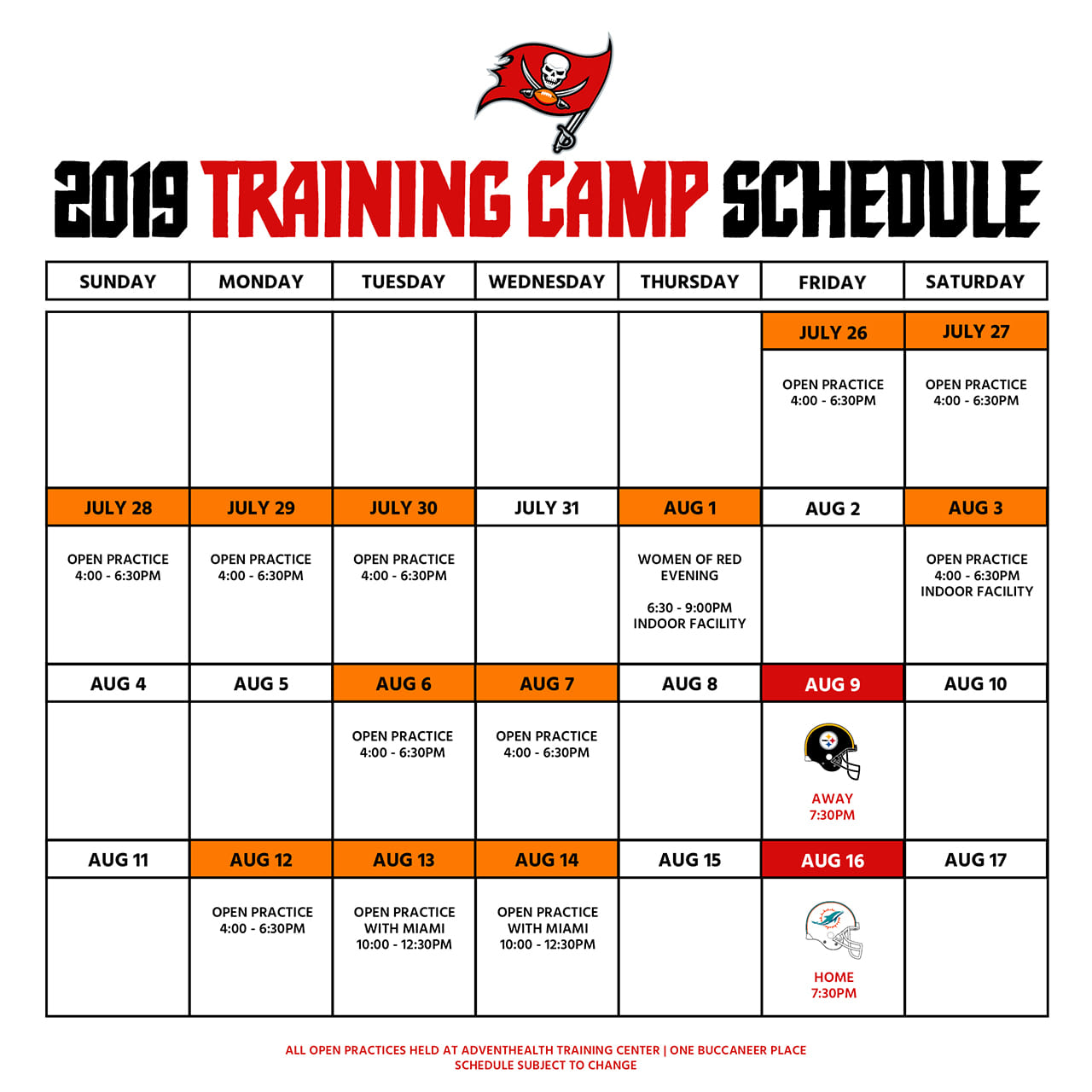 224dedaf0 Tickets and parking are completely FREE. Click the links below for more  information and to get your tickets for 2019 Buccaneers Training Camp!