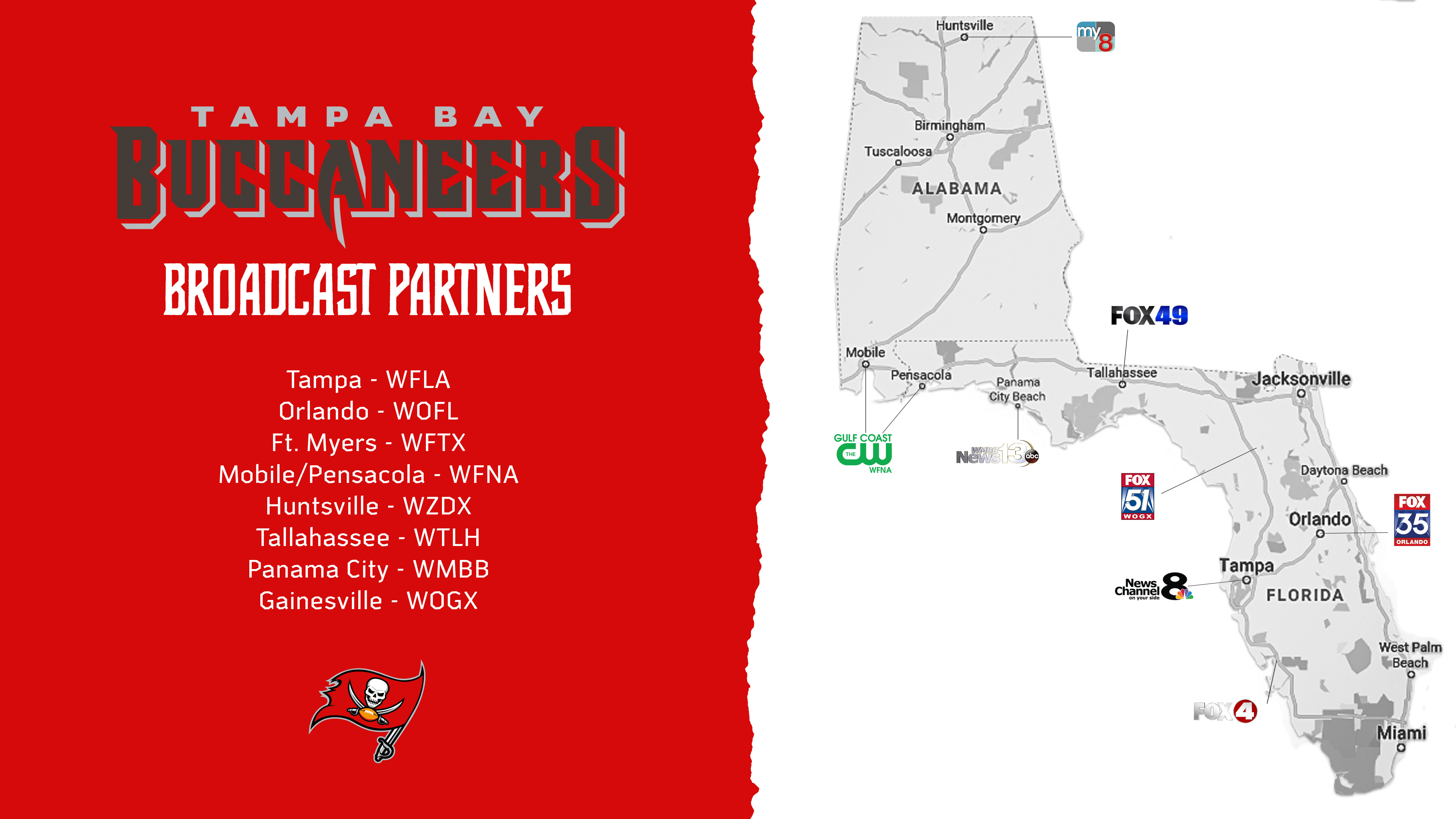 Bucs fans can watch preseason games and more from official broadcast partner WFLA and other local affiliates.
