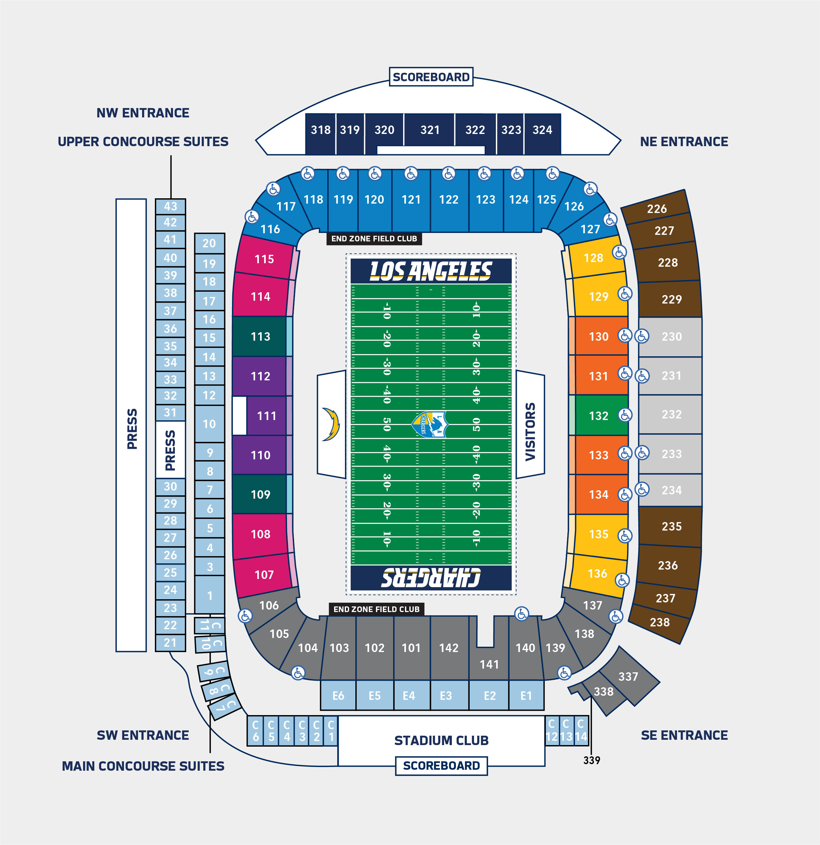 Los Angeles Chargers Seating Pricing Chart Los Angeles Chargers