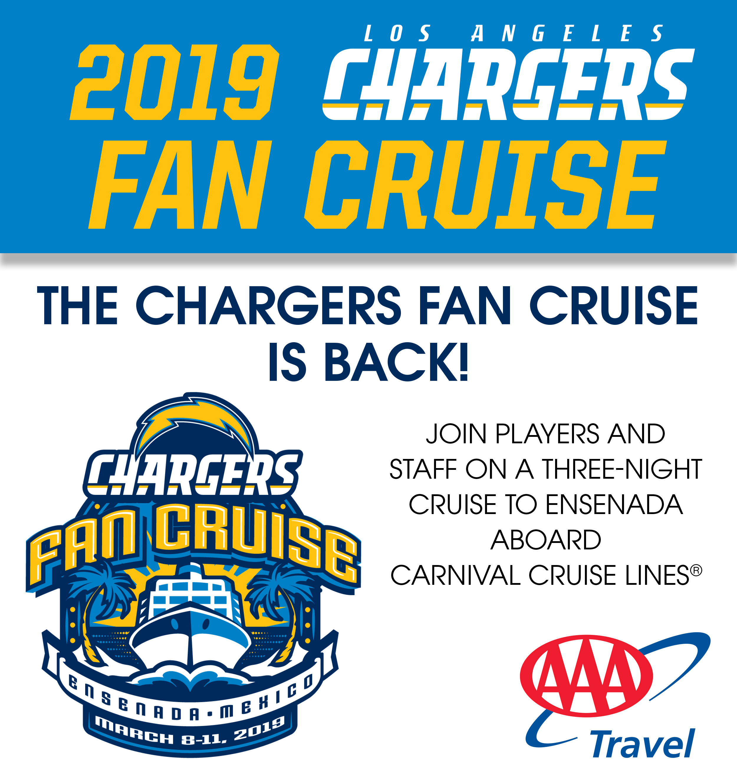 The Chargers Fan Cruise is Back! March 8-11, 2019