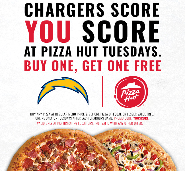 Chargers Score, You Score at Pizza Hut