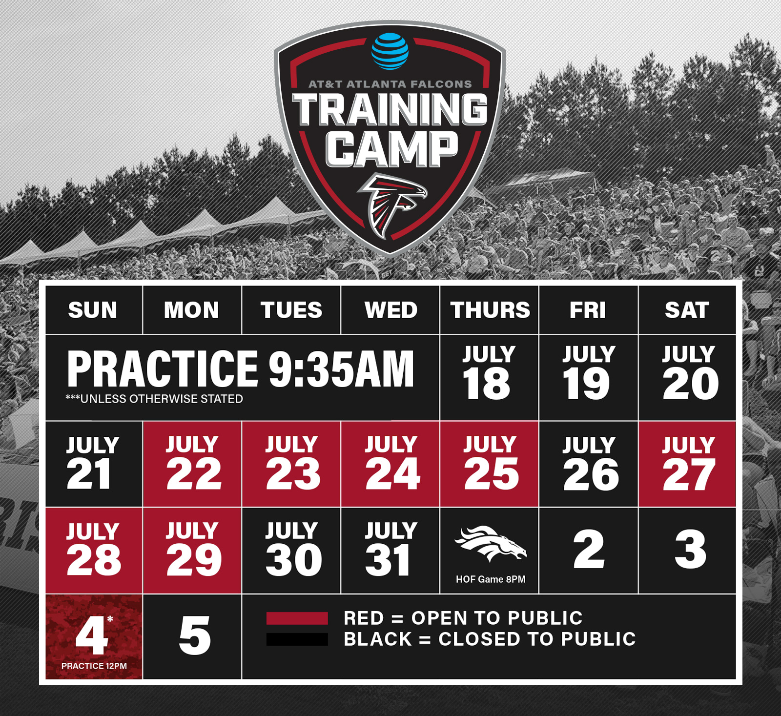 Atlanta Falcons 2020 Schedule.Complete 2018 At T Training Camp Schedule