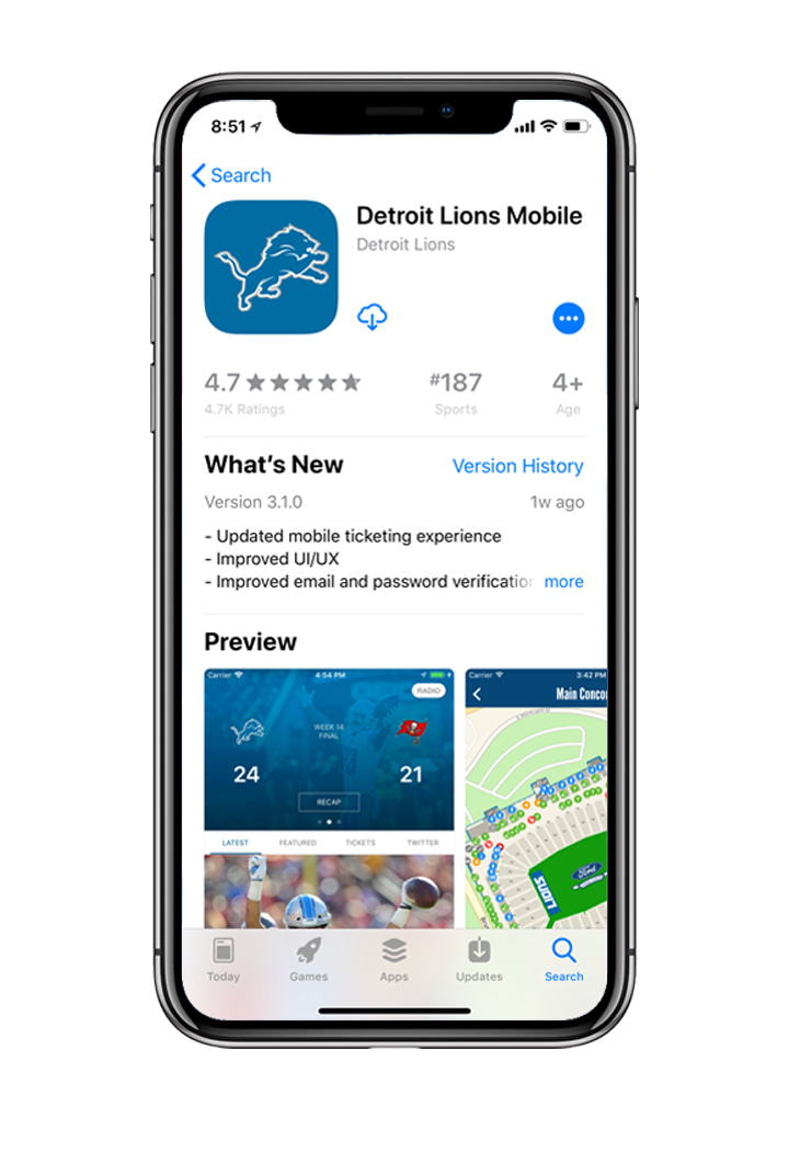 Download the Detroit Lions Mobile App