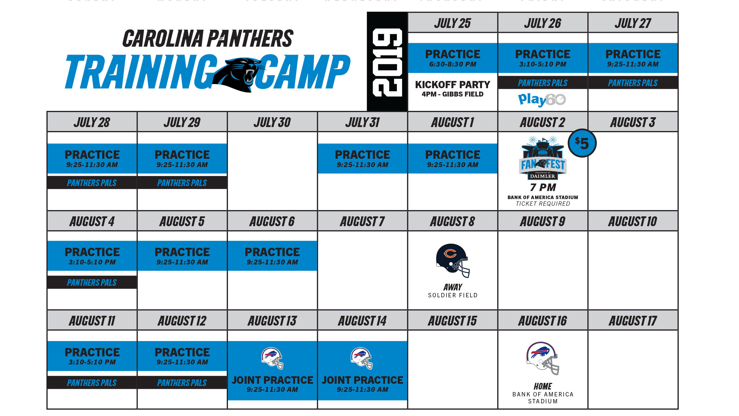 picture regarding Buffalo Bills Printable Schedule named Panthers Exercising Camp Carolina Panthers -