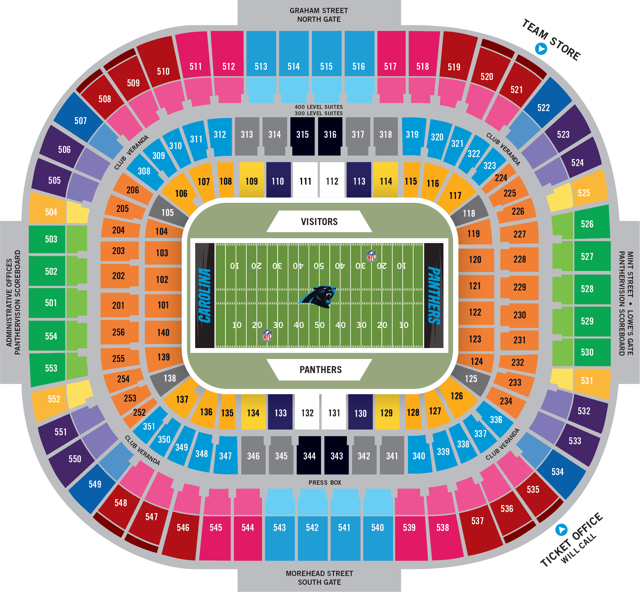Stadium Diagram Carolina Panthers Pantherscom