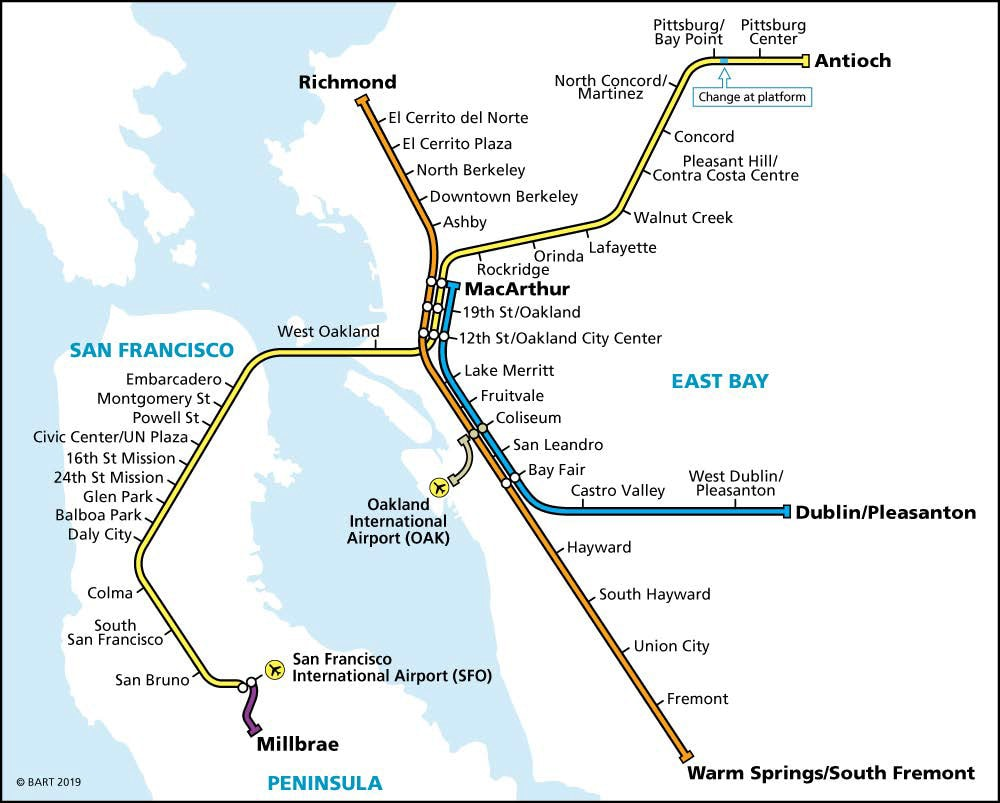 Sundays and Evenings BART Map