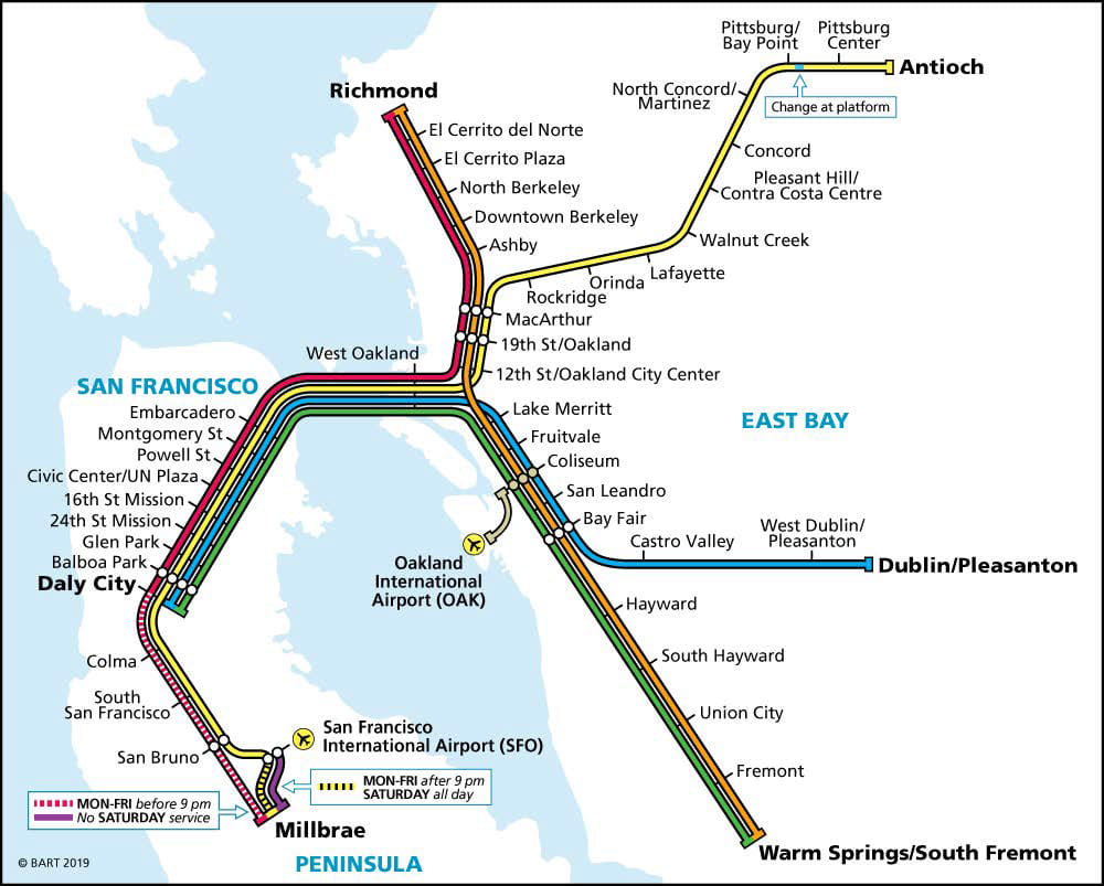 Weekday BART Map