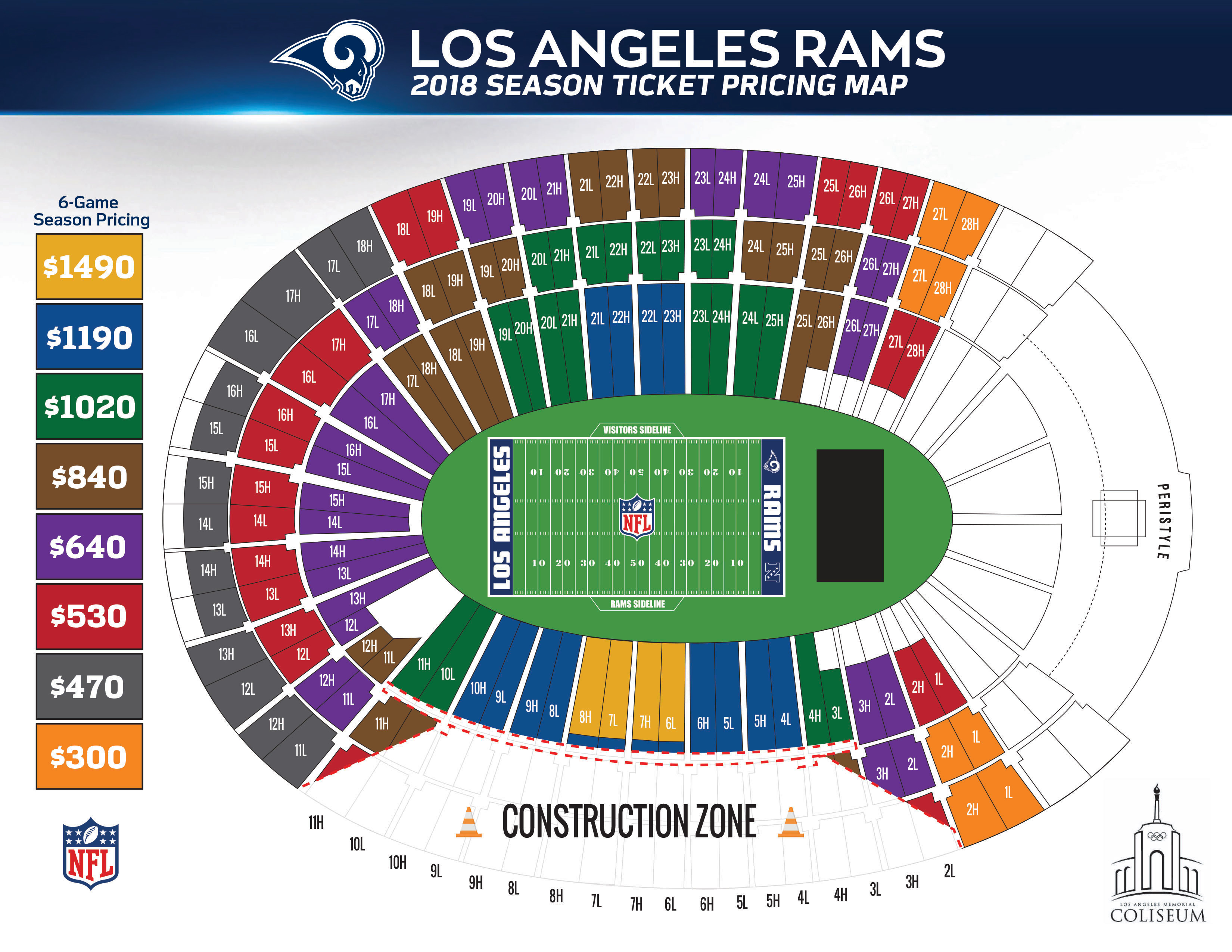 Coliseum Seating Chart Rams Elcho Table
