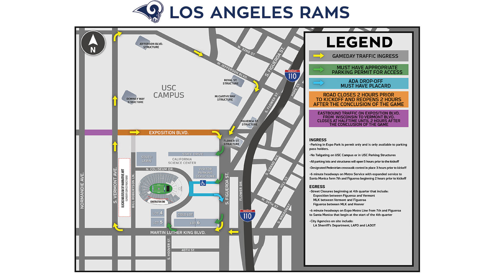 Rams Gameday Driving Directions | Los Angeles Rams - therams com