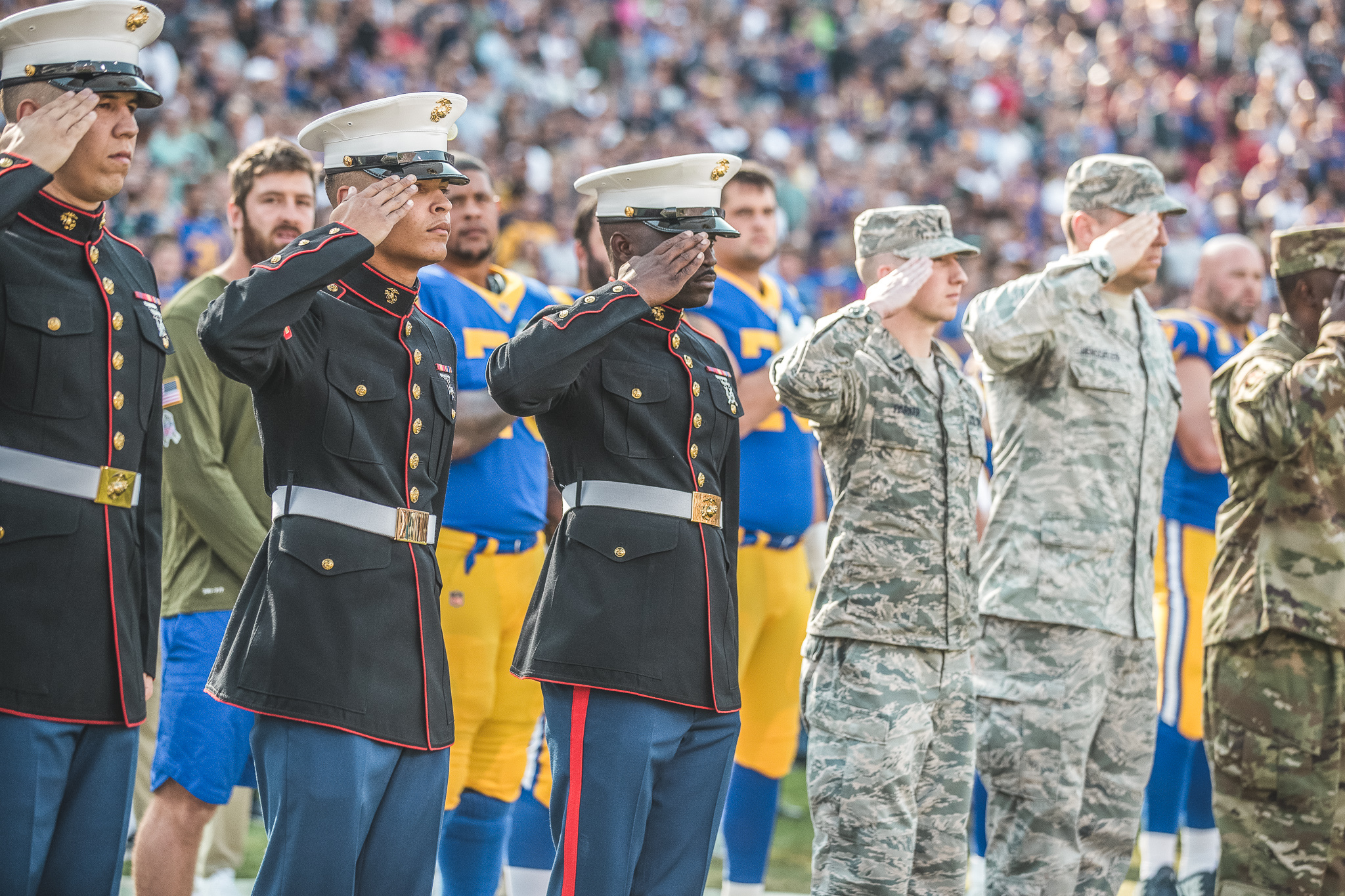 Re-Enlistment Oath Ceremony at the Los Angeles Memorial Coliseum