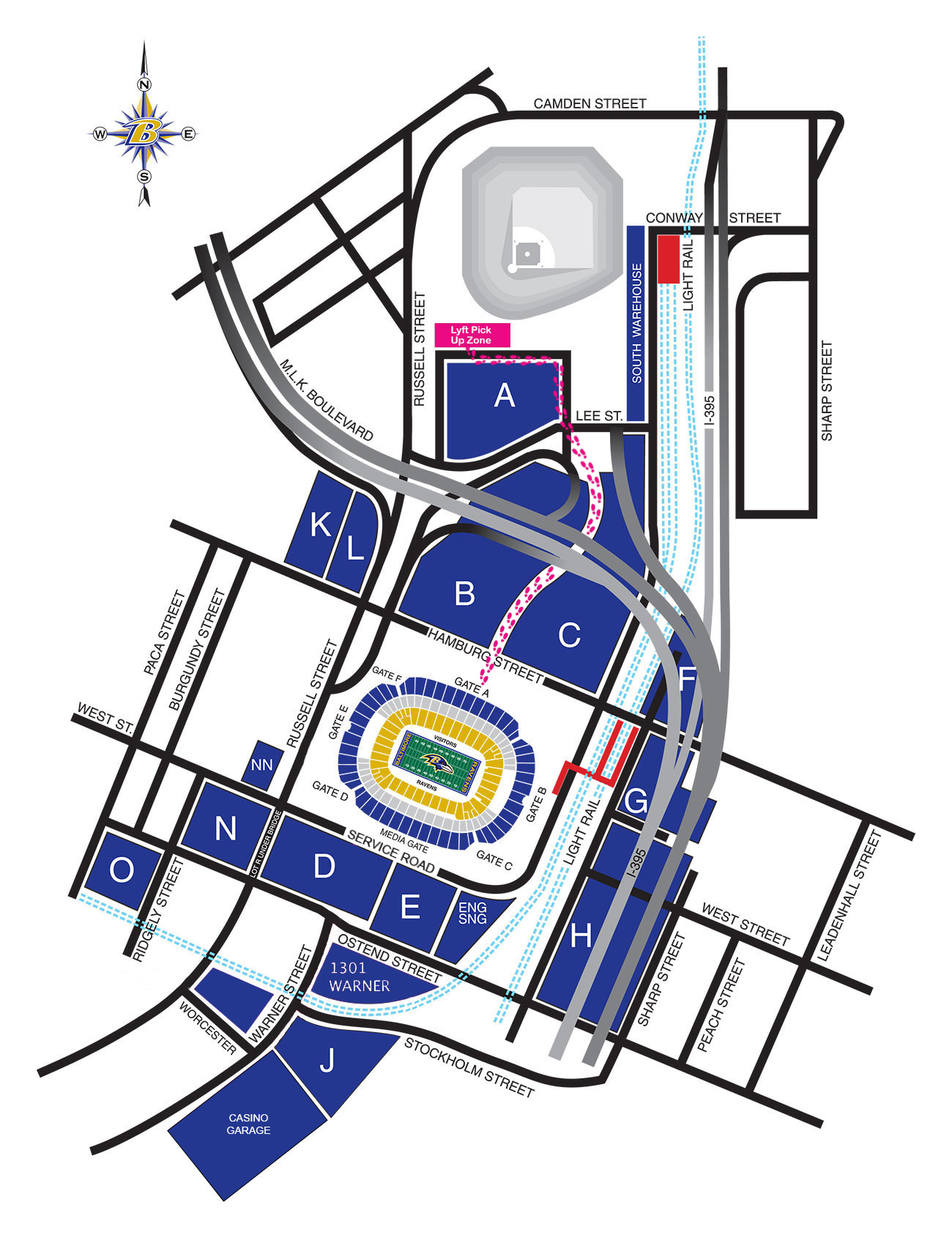 Stadium Parking Diagram