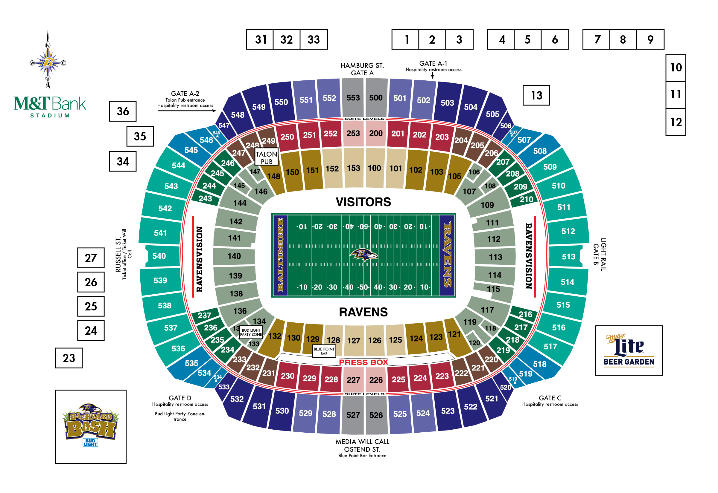 M t bank stadium diagrams baltimore ravens baltimoreravens com