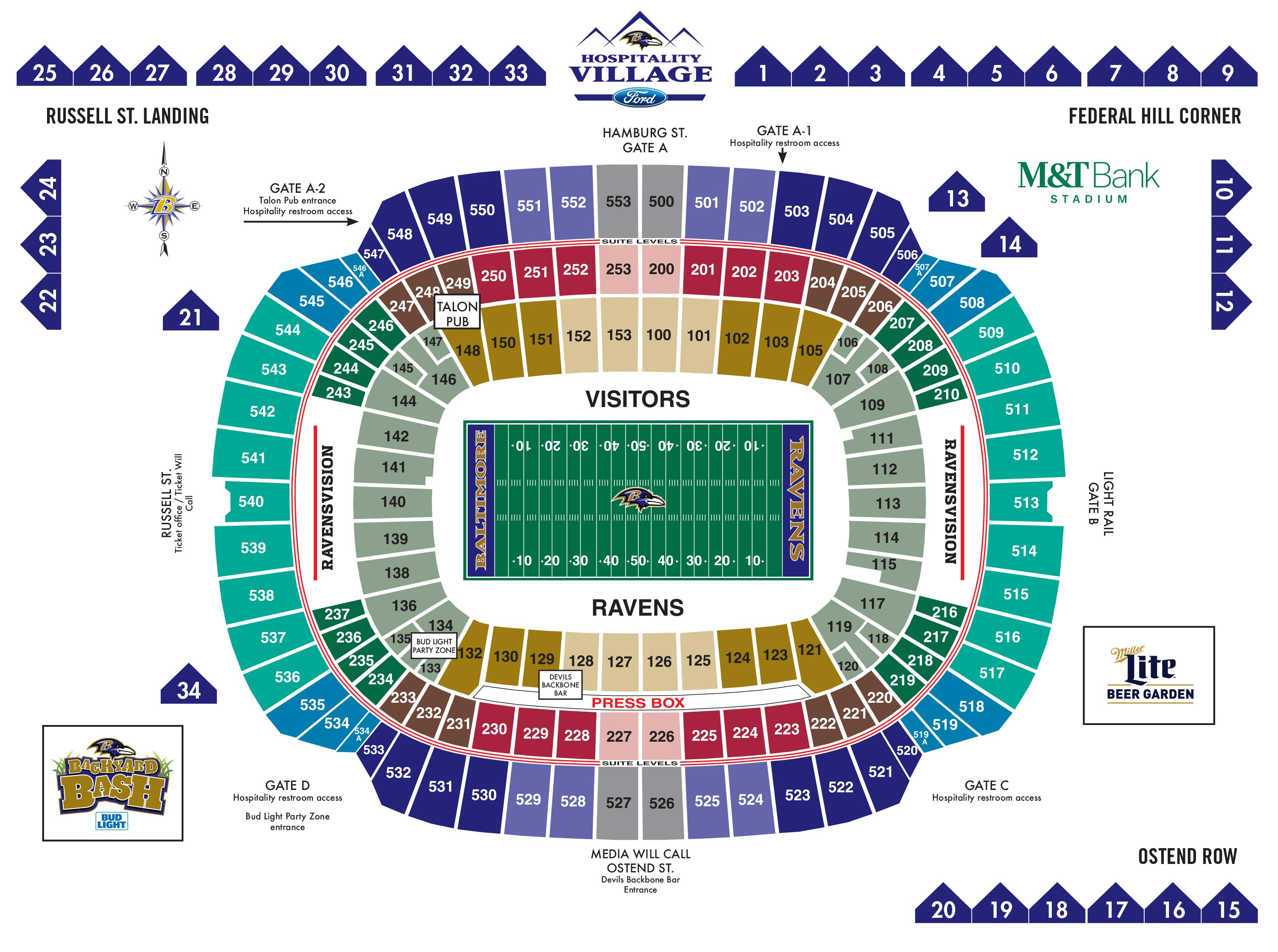 Baltimore Ravens Map M&T Bank Stadium Diagrams | Baltimore Ravens – baltimoreravens.com