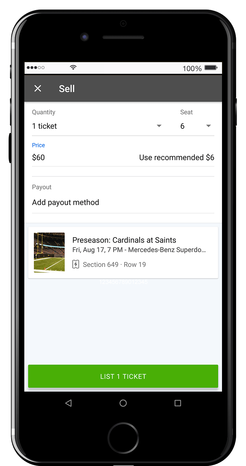 "Select the ticket quantity, seat number, and the listing price. You must choose a ""Payout Method"" before listing."