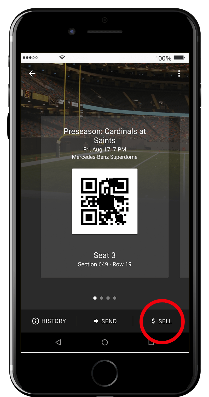 "Select the Saints game you wish to sell tickets for and choose ""Sell"" below."