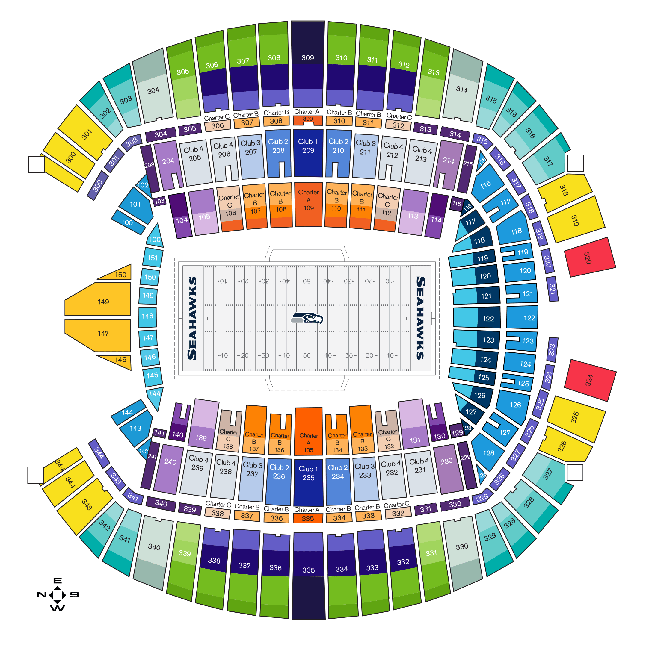 Seattle seahawks seating chart at centurylink field seattle