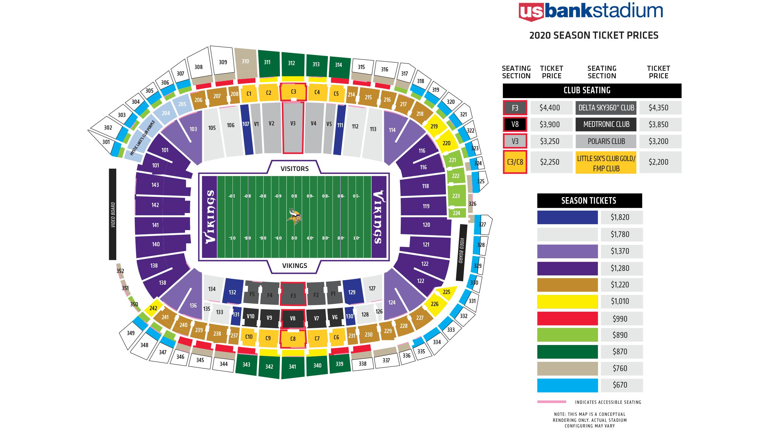 Us Bank Seat Map Us Bank Stadium Seating