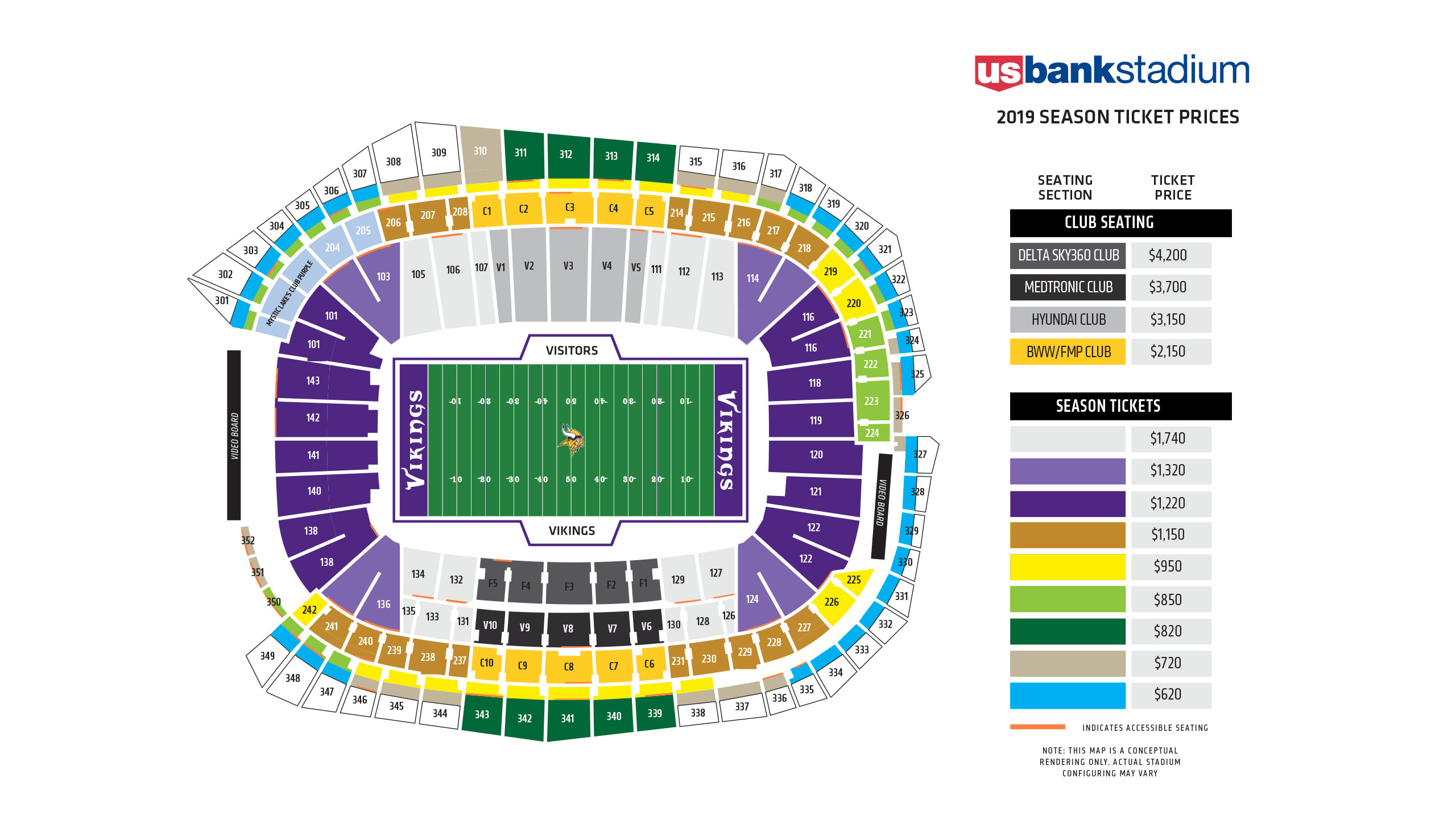 Vikings Seating Chart at U.S. Bank Stadium | Minnesota Vikings ...