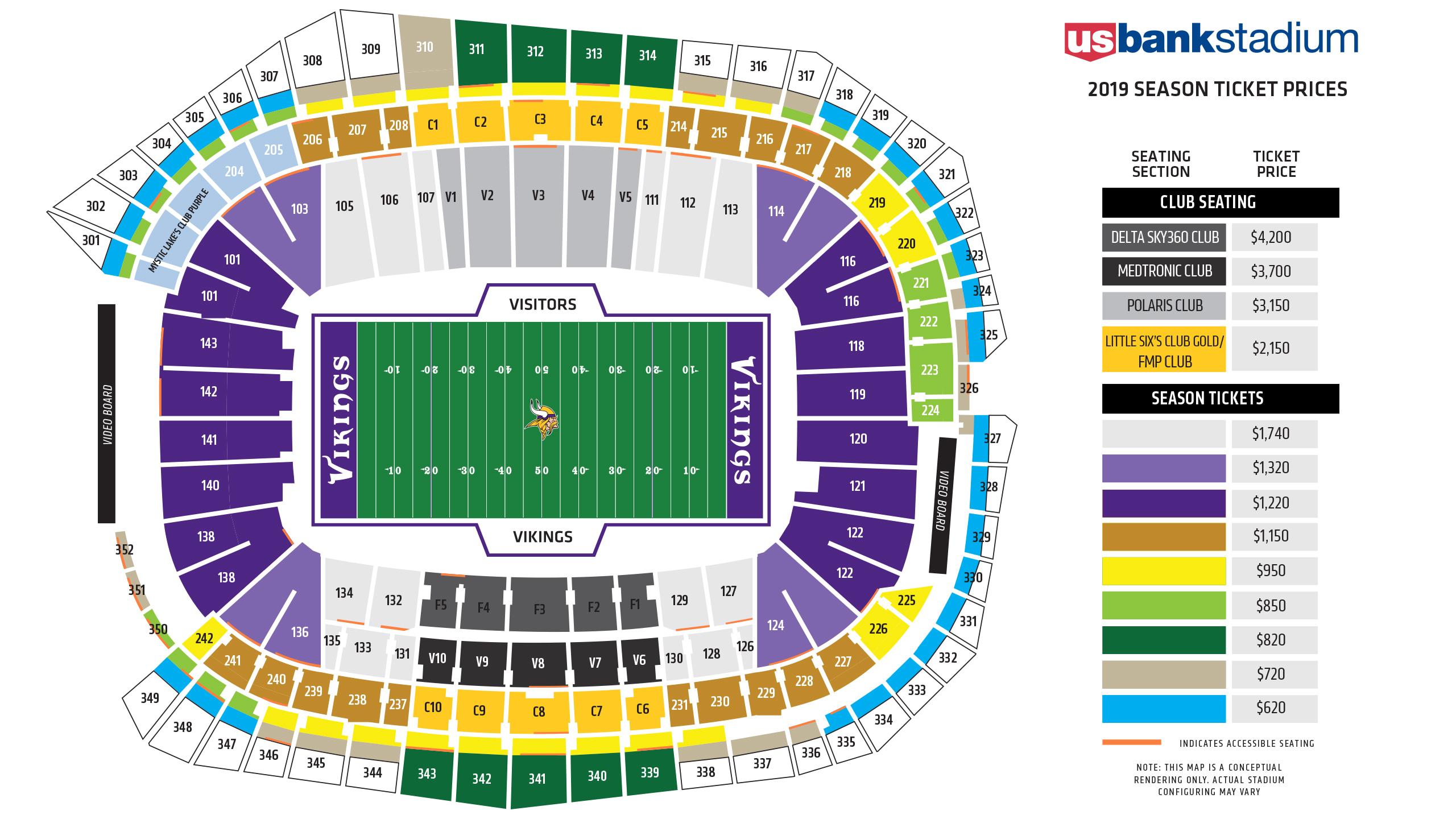 Us Bank Stadium Seating Chart And Map Minnesota Vikings