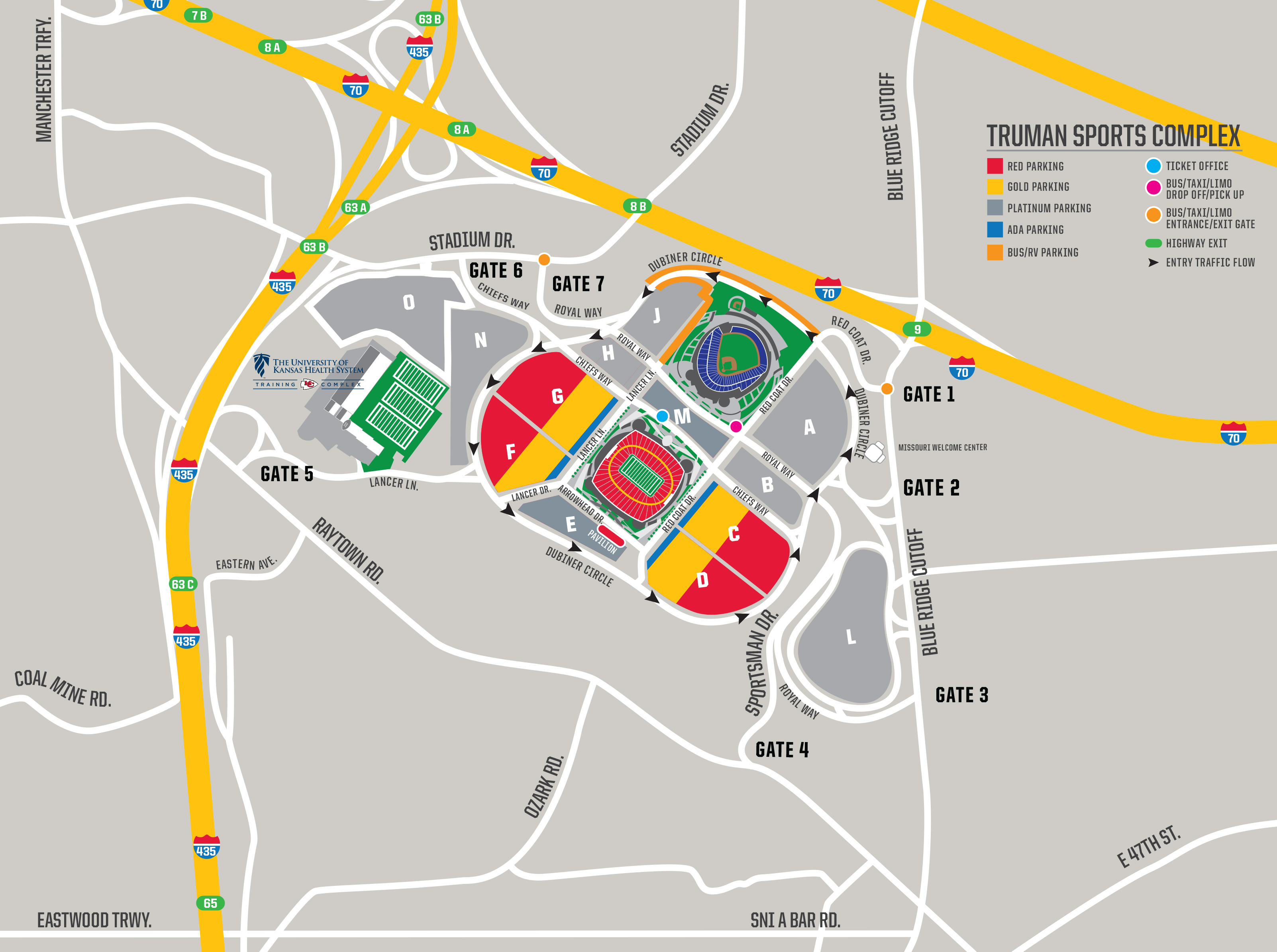 Chiefs Parking Map Chiefs Parking & Tailgating   Taligating Information | Kansas City