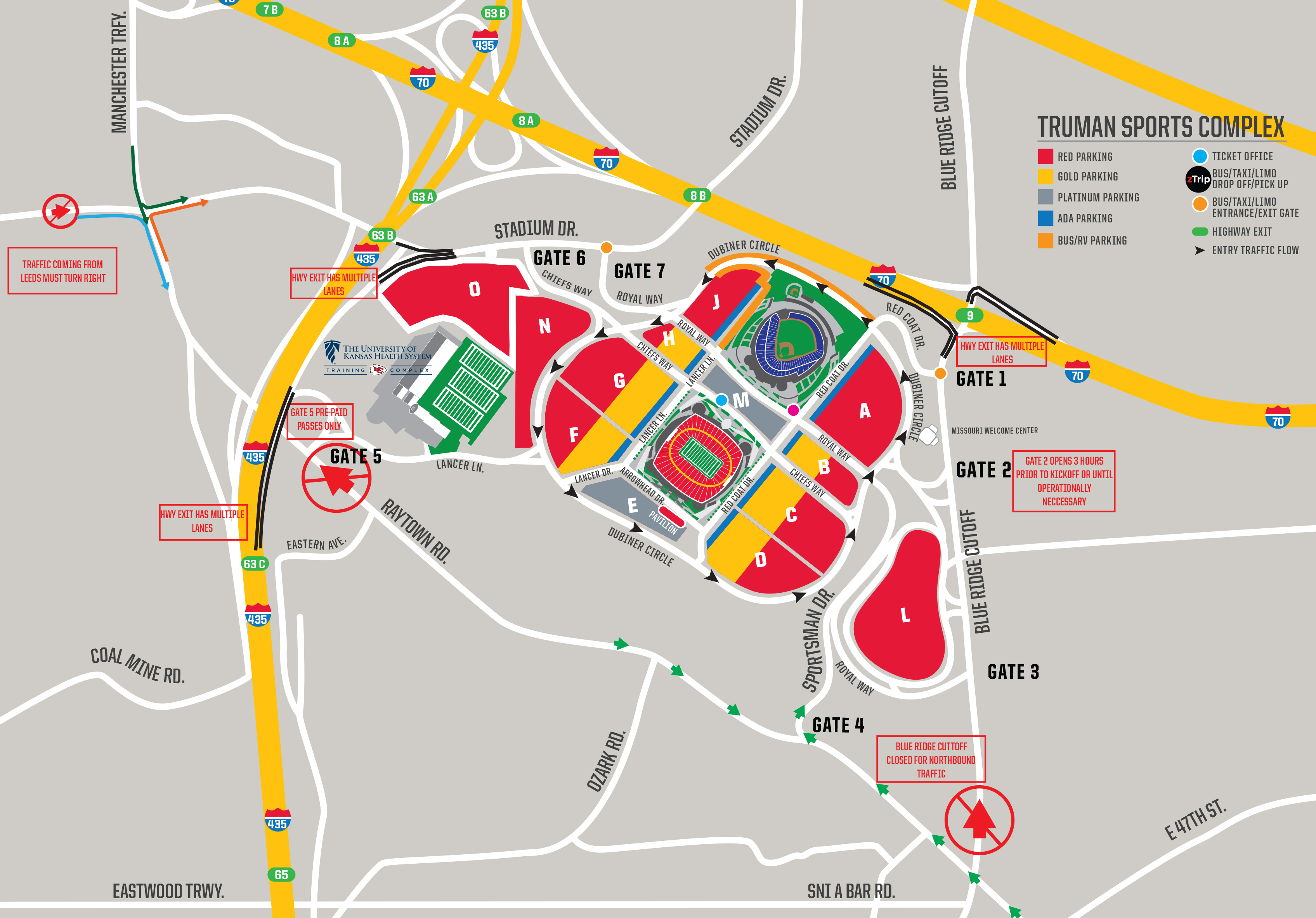 Chiefs Parking Map Chiefs Parking & Tailgating   Directions & Maps | Kansas City