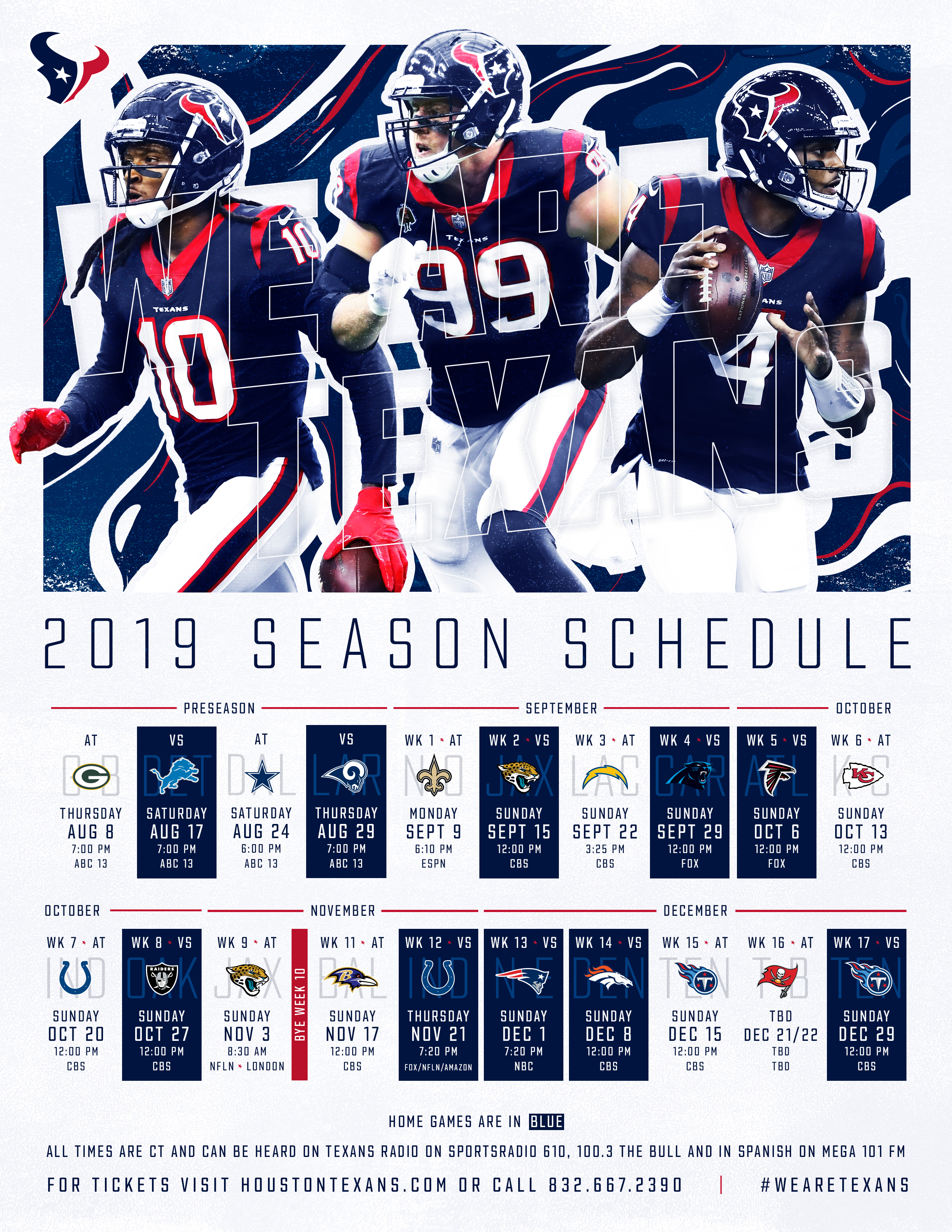 picture relating to New England Patriots Printable Schedule named Texans Agenda Houston Texans -
